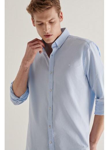 Avva Erkek Düz Düğmeli Yaka Regular Fit Gömlek A11Y2026 Mavi